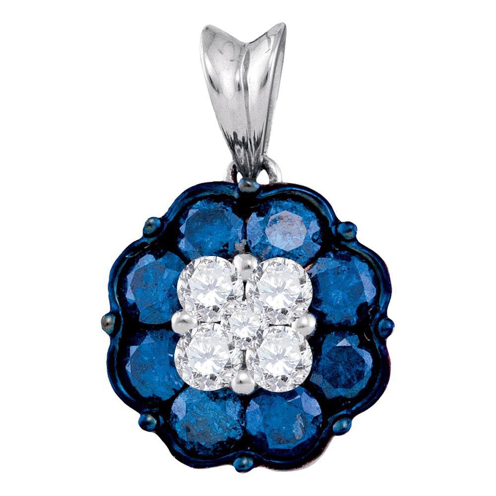 Blue Color Enhanced Diamond Cluster Pendant 10kt White Gold