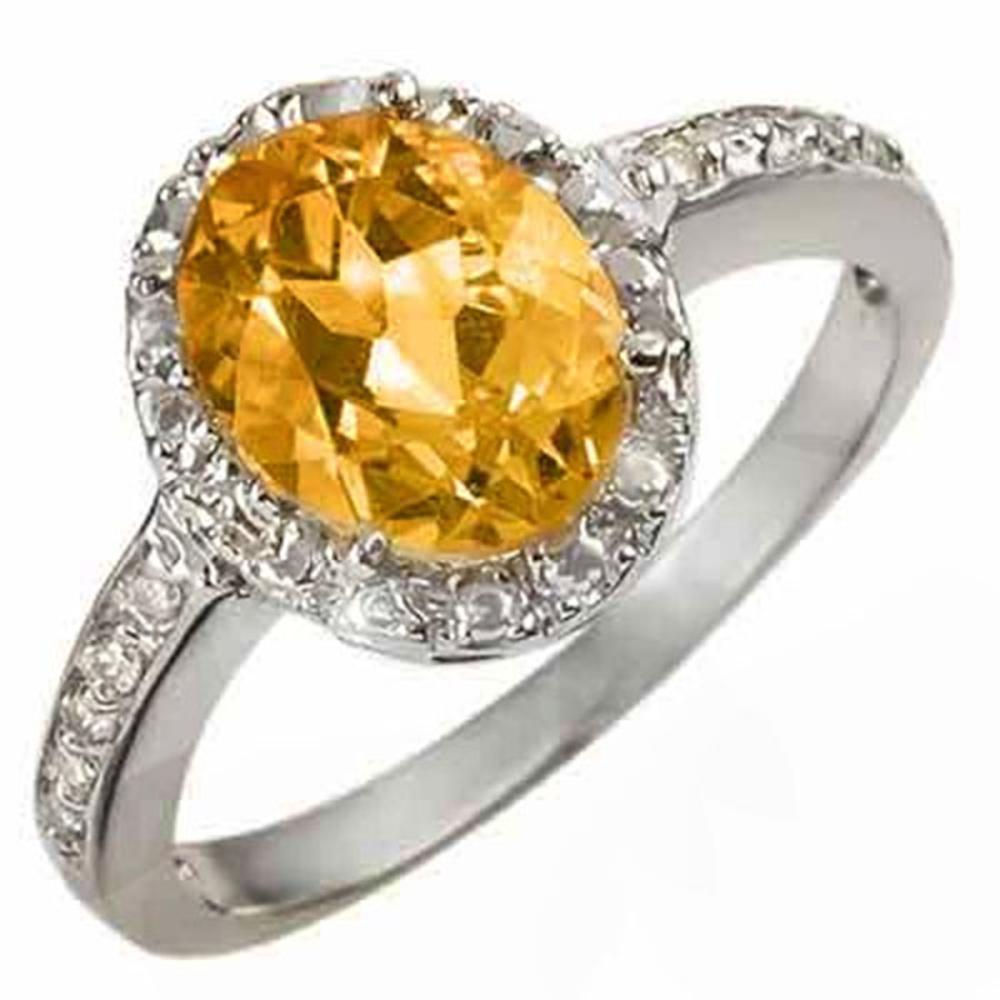 Lot 3111: 2.10 CTW Genuine Citrine & Diamond Ring 14K White Gold