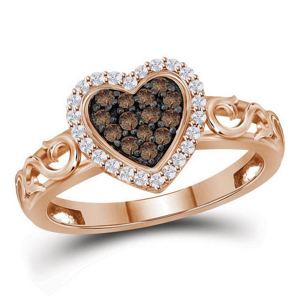 Brown Diamond Heart Ring 10kt Rose Gold
