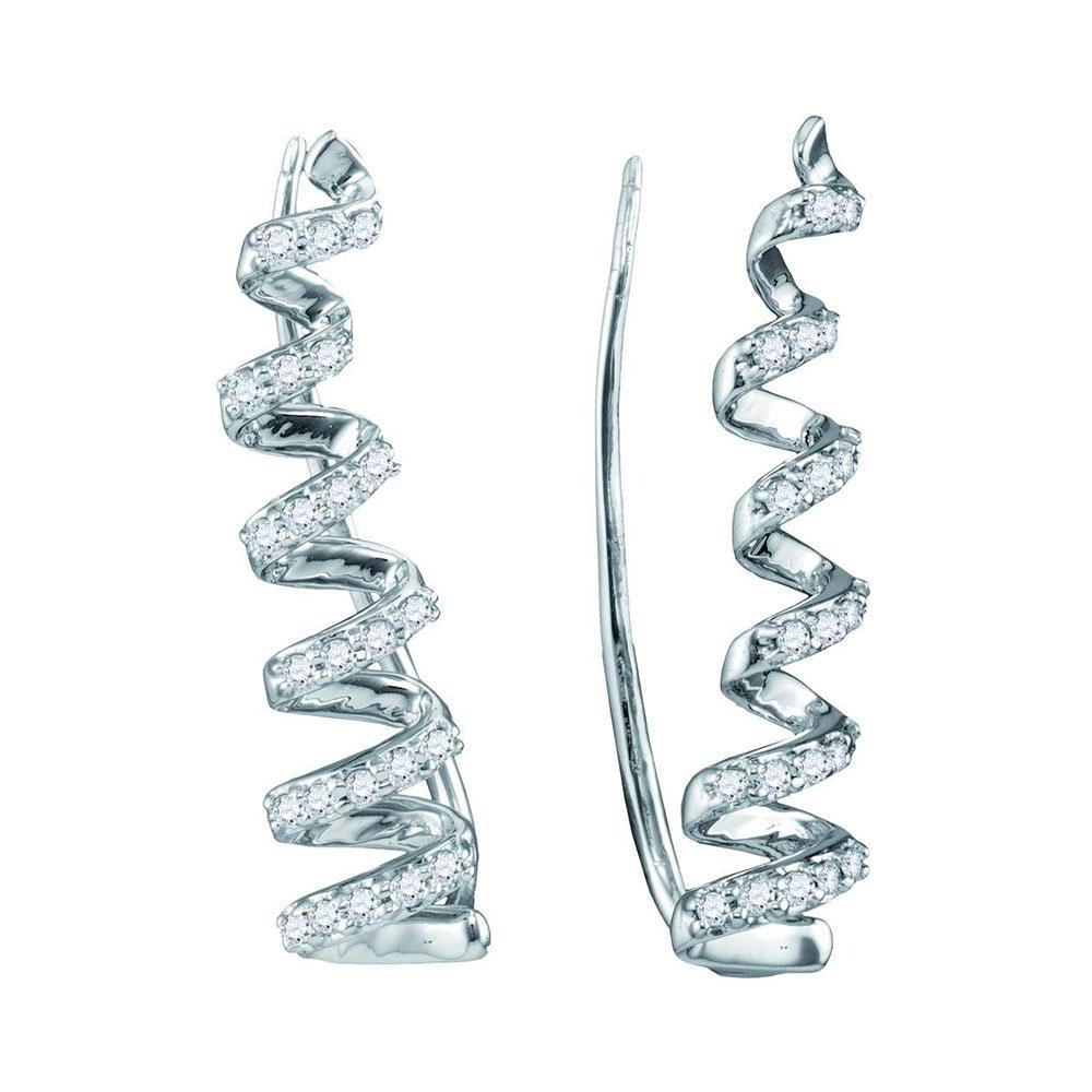 Lot 3119: Diamond Coil Climber Earrings 10kt White Gold
