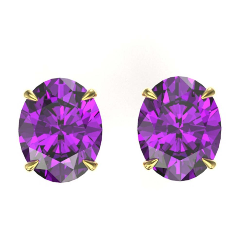 Lot 3120: 5 CTW Genuine Amethyst Solitaire Stud Earrings 18K Yellow Gold