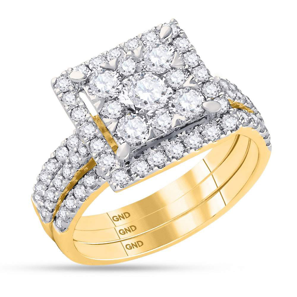 Diamond Square 3-Piece Bridal Wedding Engagement Ring 14kt Yellow Gold