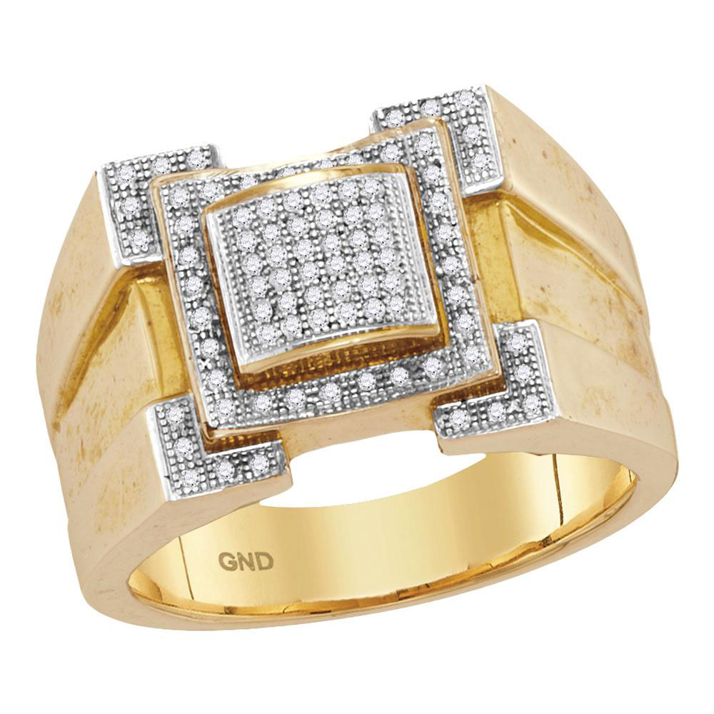 Mens Diamond Square Frame Cluster Ring 10kt Yellow Gold