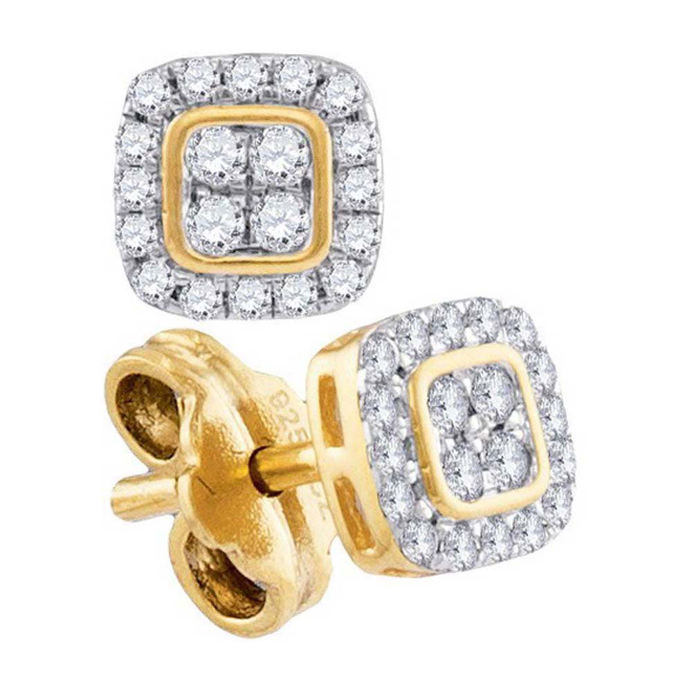 Diamond Square Cluster Stud Earrings 10kt Yellow Gold