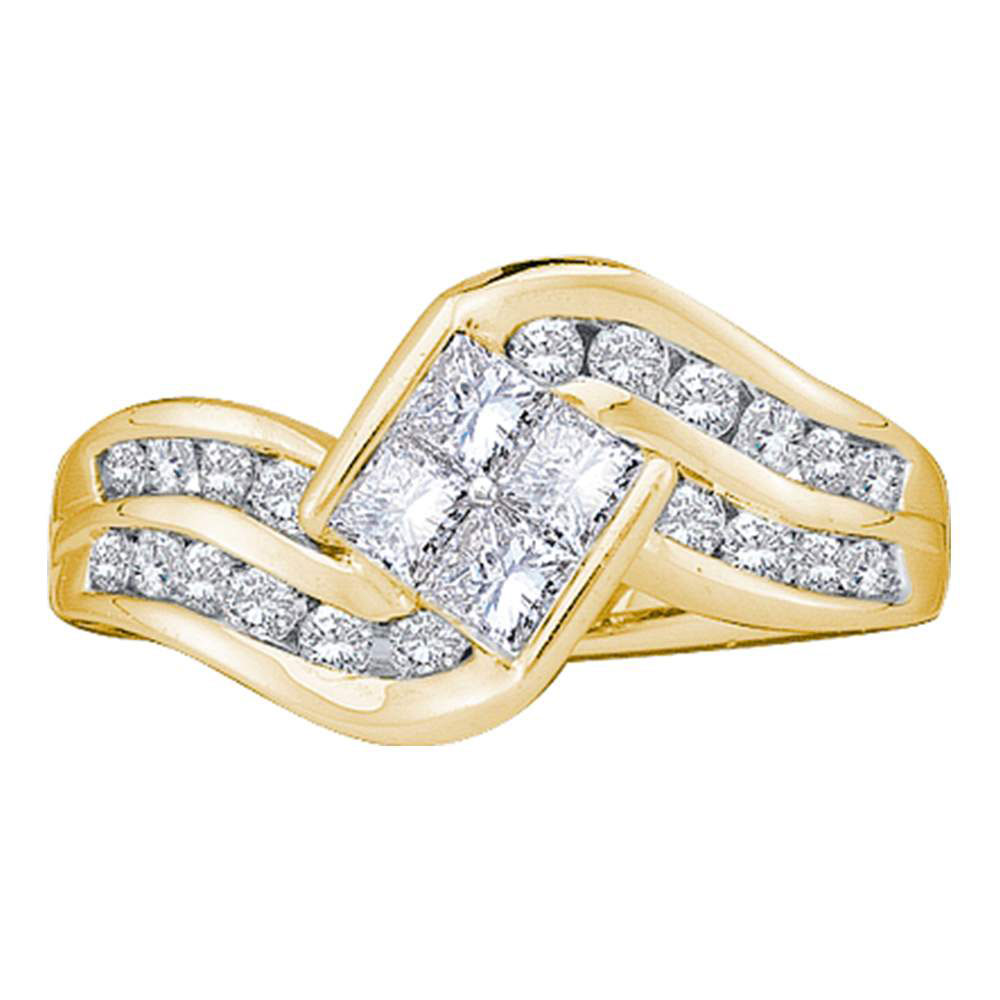 Lot 3128: Princess Diamond Contoured Cluster Ring 14kt Yellow Gold