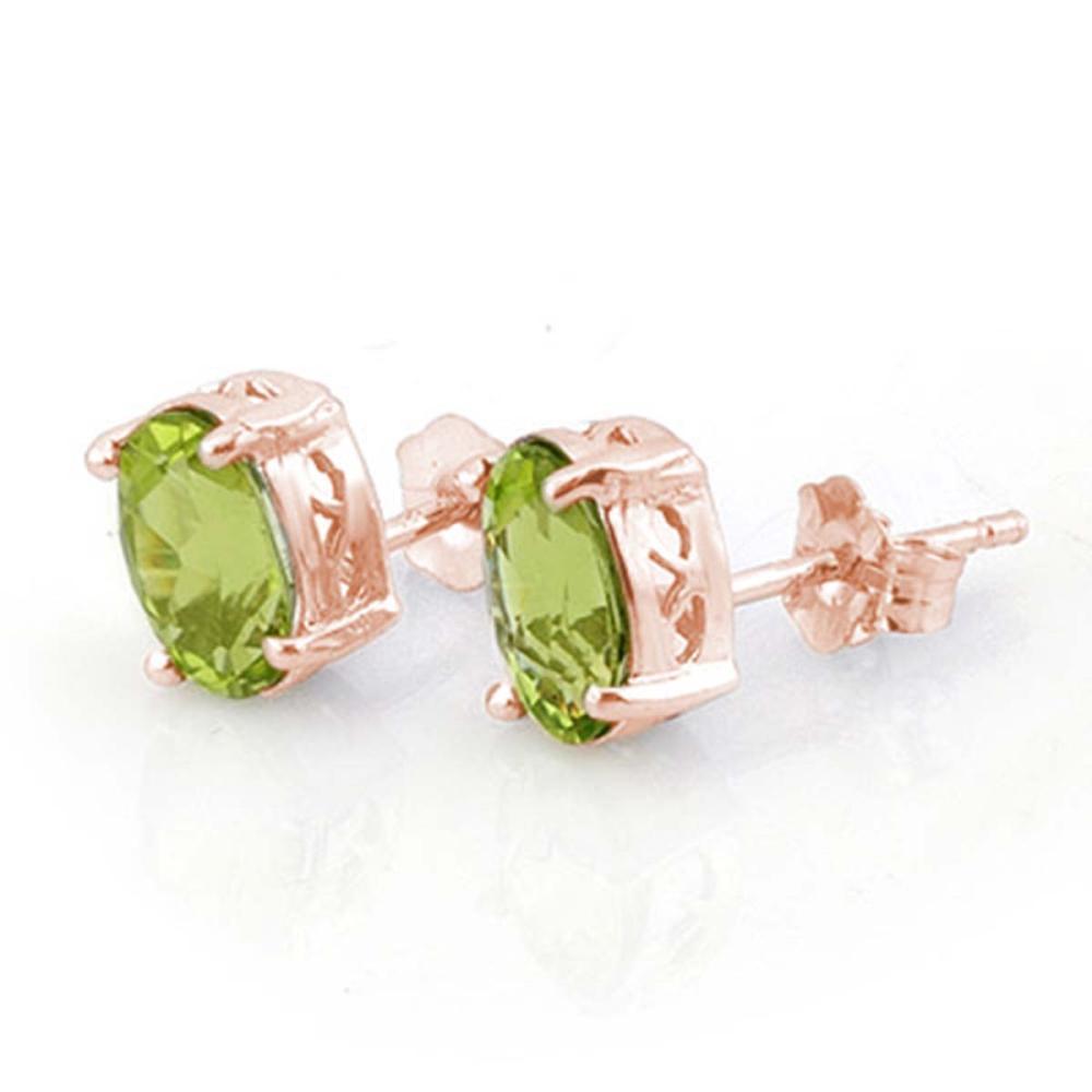 Lot 3129: 2.0 CTW Genuine Peridot Solitaire Stud Earrings 14K Rose Gold
