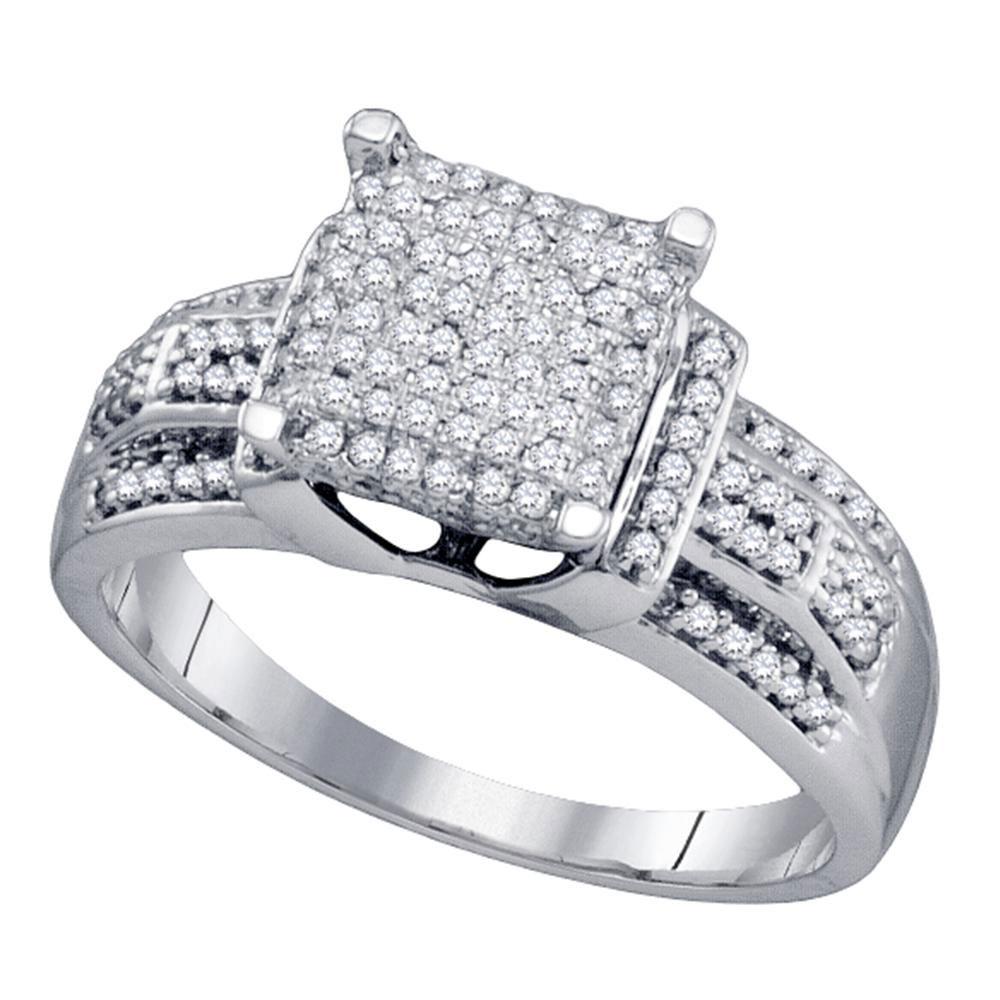 Lot 3133: Diamond Square Cluster Bridal Wedding Engagement Ring 10kt White Gold