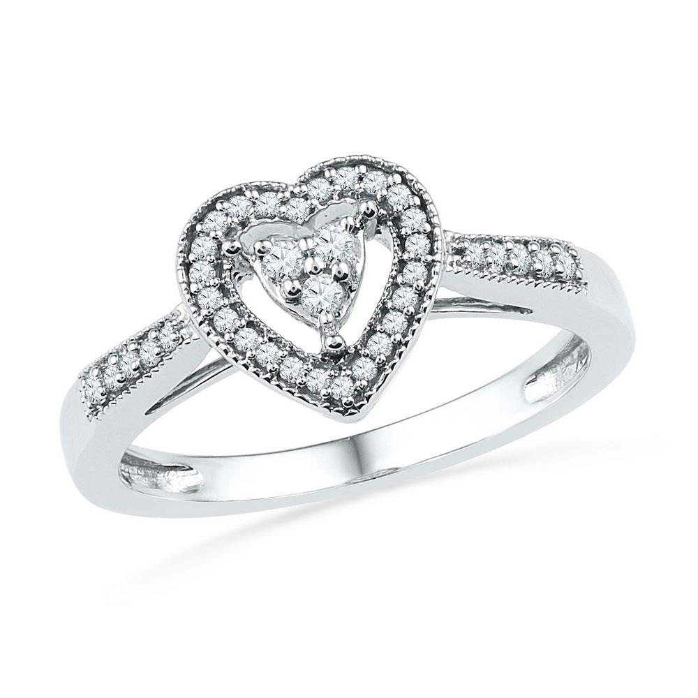 Diamond Heart Cluster Ring 10kt White Gold