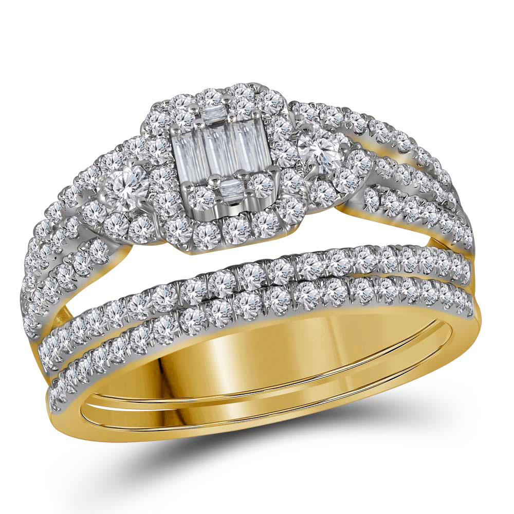 Baguette Diamond Bridal Wedding Engagement Ring 14kt Yellow Gold