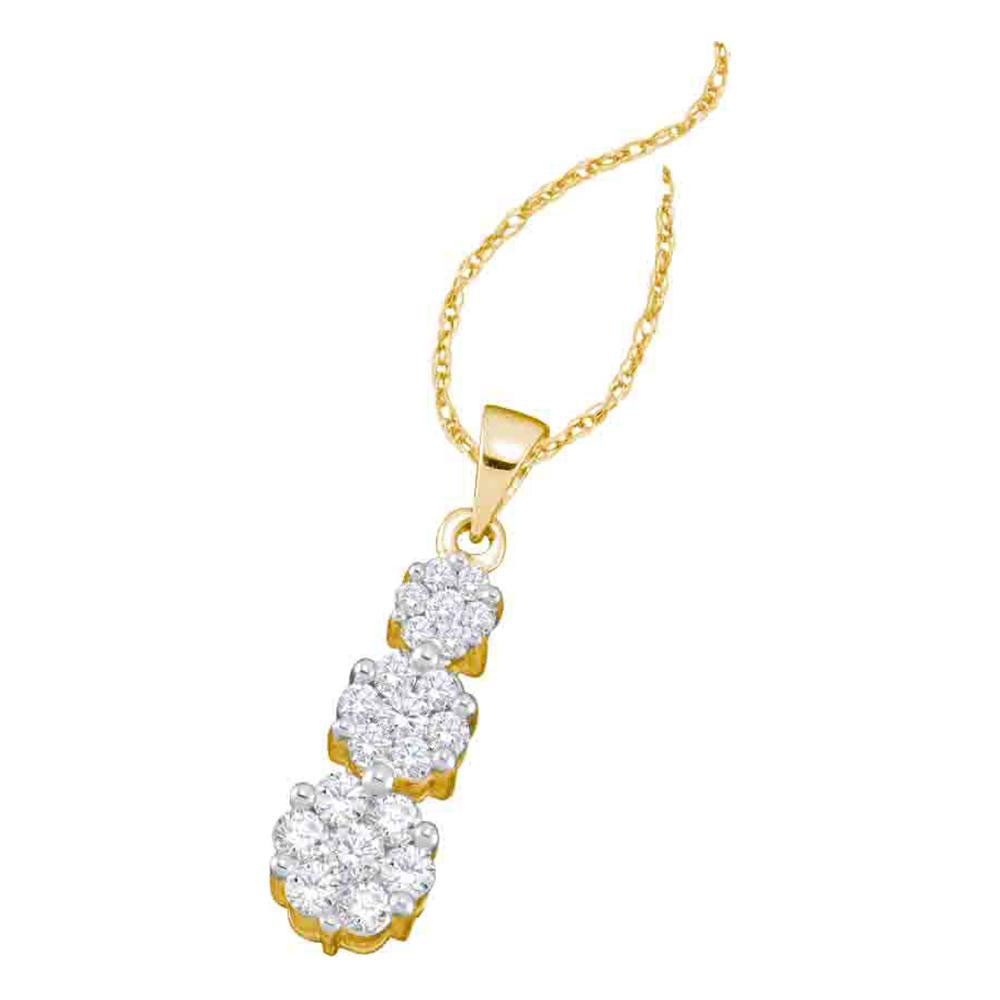 Lot 3146: Diamond Triple Flower Cluster Pendant 14kt Yellow Gold