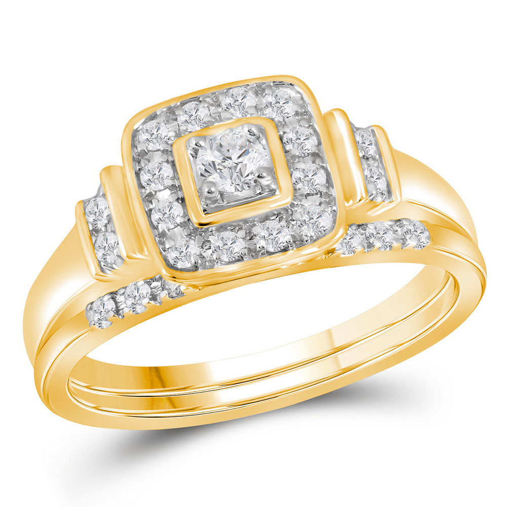 Diamond Solitaire Square Bridal Wedding Engagement Ring 10kt Yellow Gold