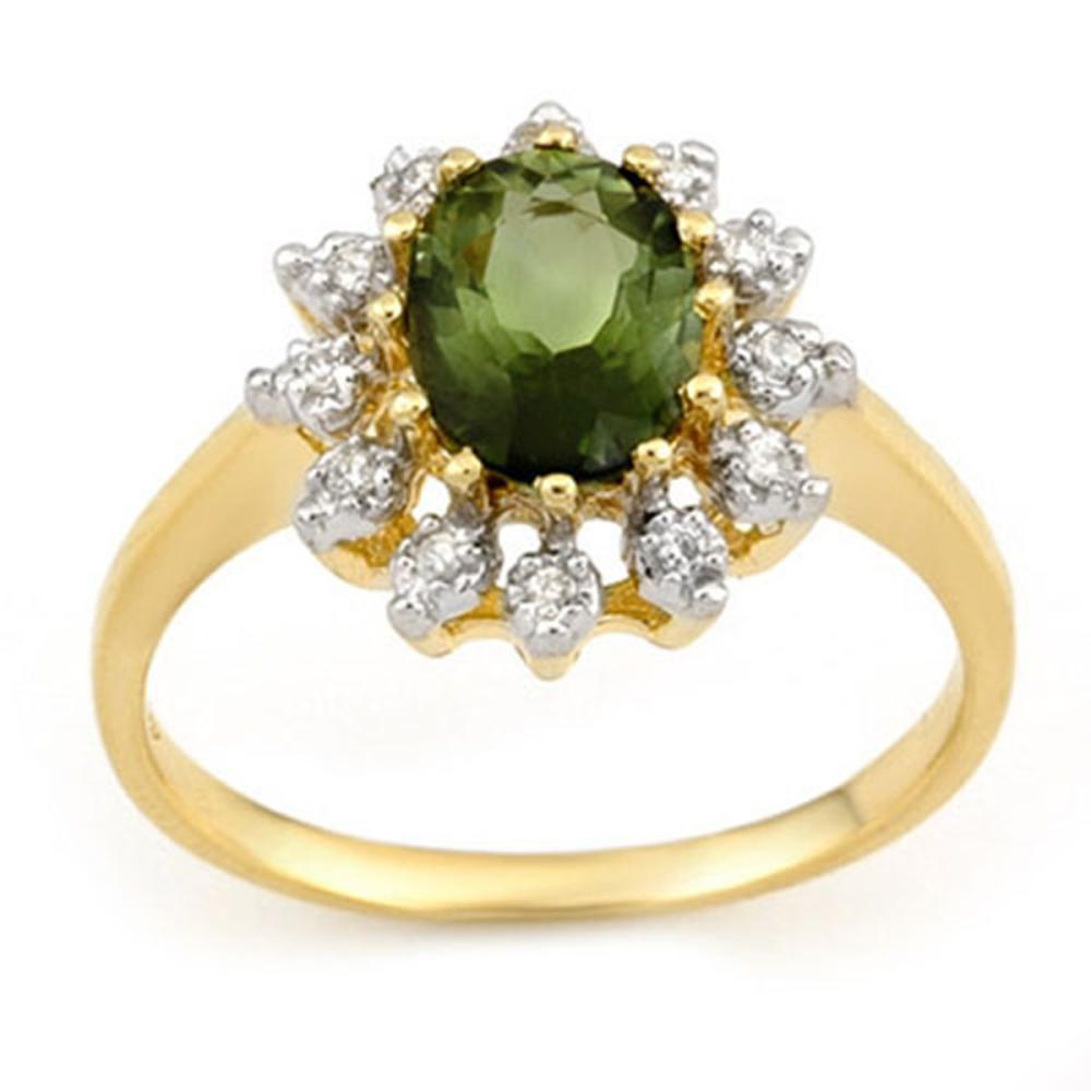 1.62 CTW Genuine Green Tourmaline & Diamond Ring 10K Yellow Gold