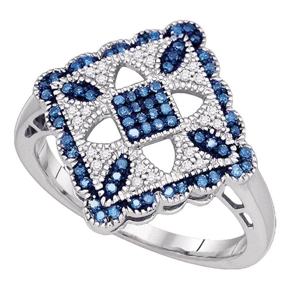 Blue Color Enhanced Diamond Square Cluster Ring 10kt White Gold