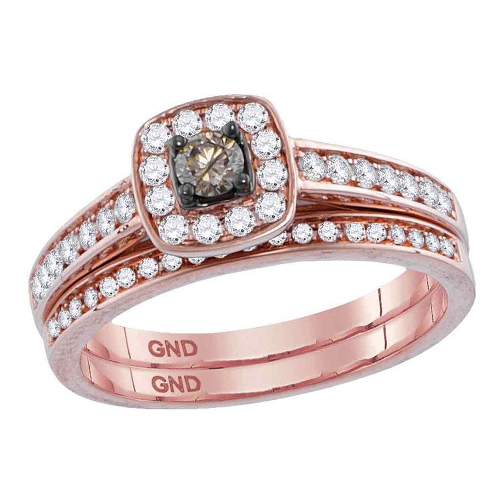 Brown Diamond Bridal Wedding Engagement Ring 14kt Rose Gold