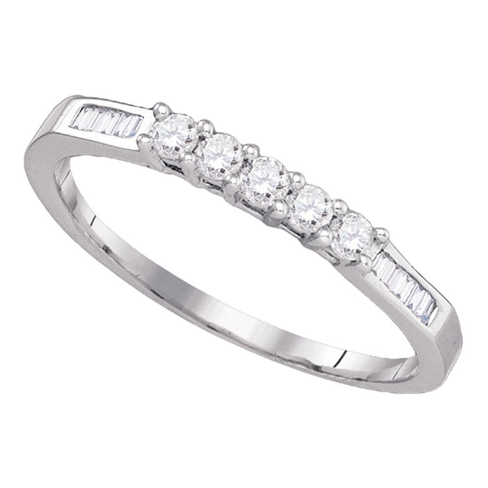 5-stone Baguette Diamond Bridal Wedding Anniversary Band 14k White Gold