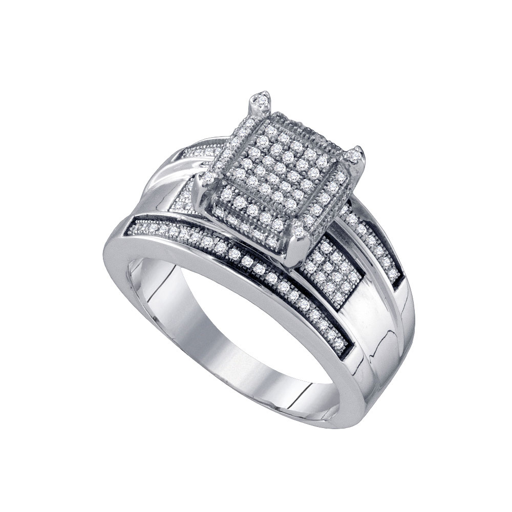 Diamond Elevated Rectangle Cluster Bridal Wedding Engagement Ring 10kt White Gold