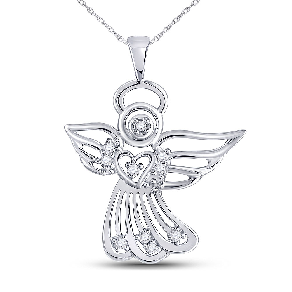 Diamond Guardian Angel Pendant 10kt White Gold