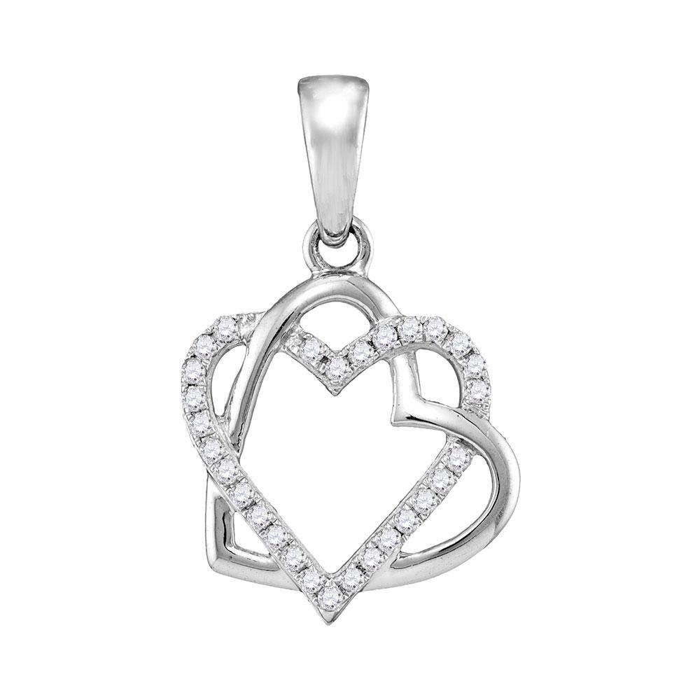 Diamond Heart Pendant 10kt White Gold