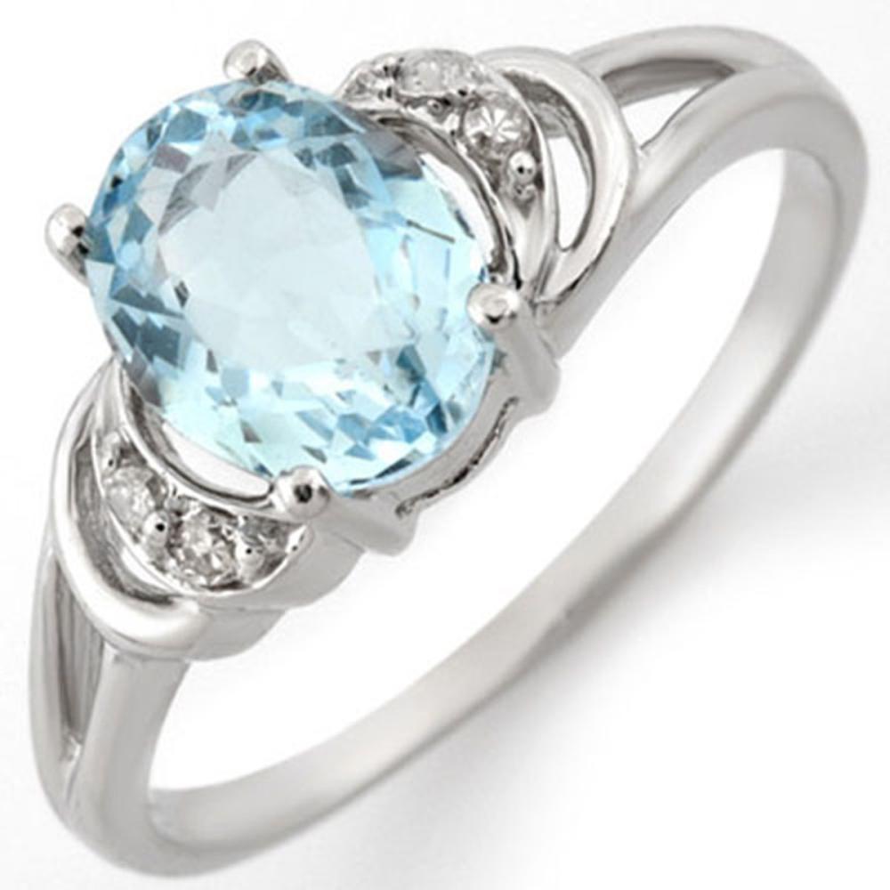 Lot 3165: 1.56 CTW Genuine Aquamarine & Diamond Ring 10K White Gold