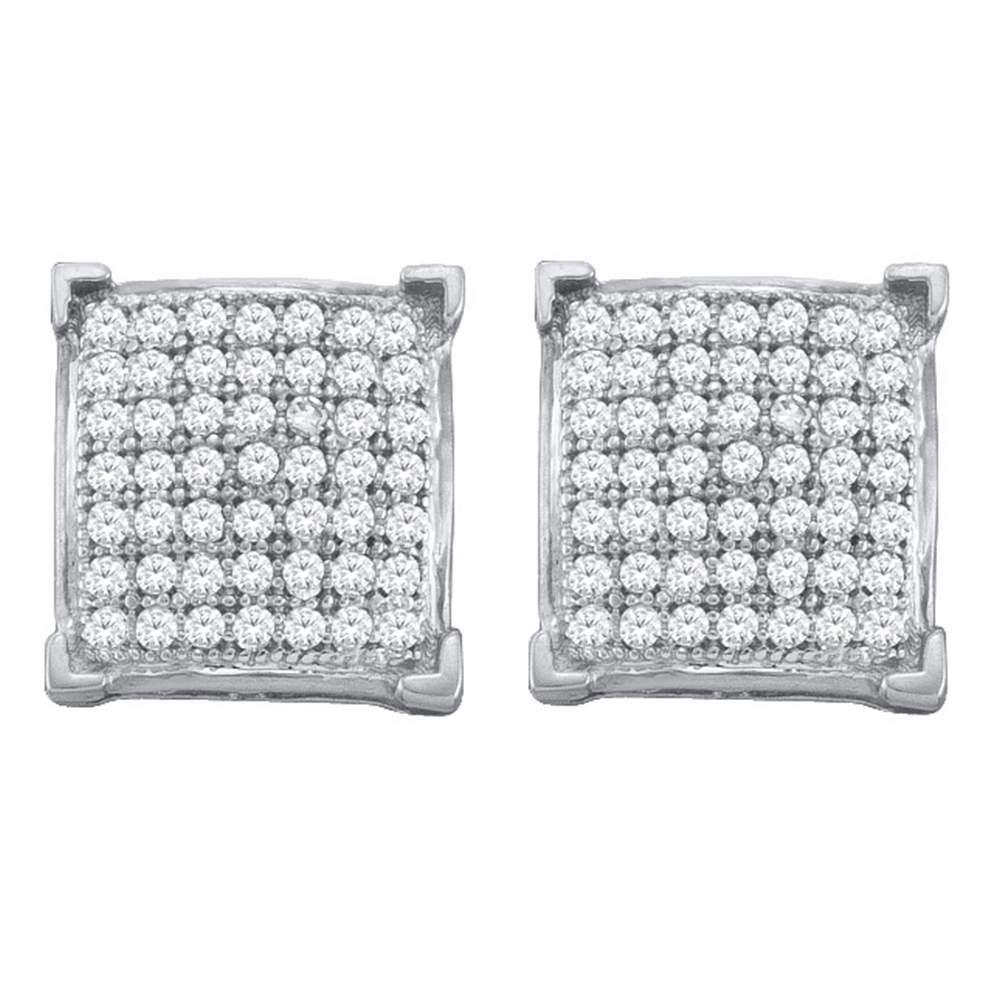 Diamond Square Cluster Screwback Earrings 10kt White Gold
