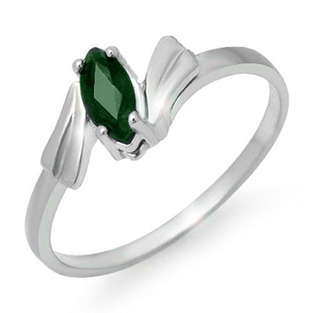 0.20 CTW Genuine Emerald Ring 10K White Gold