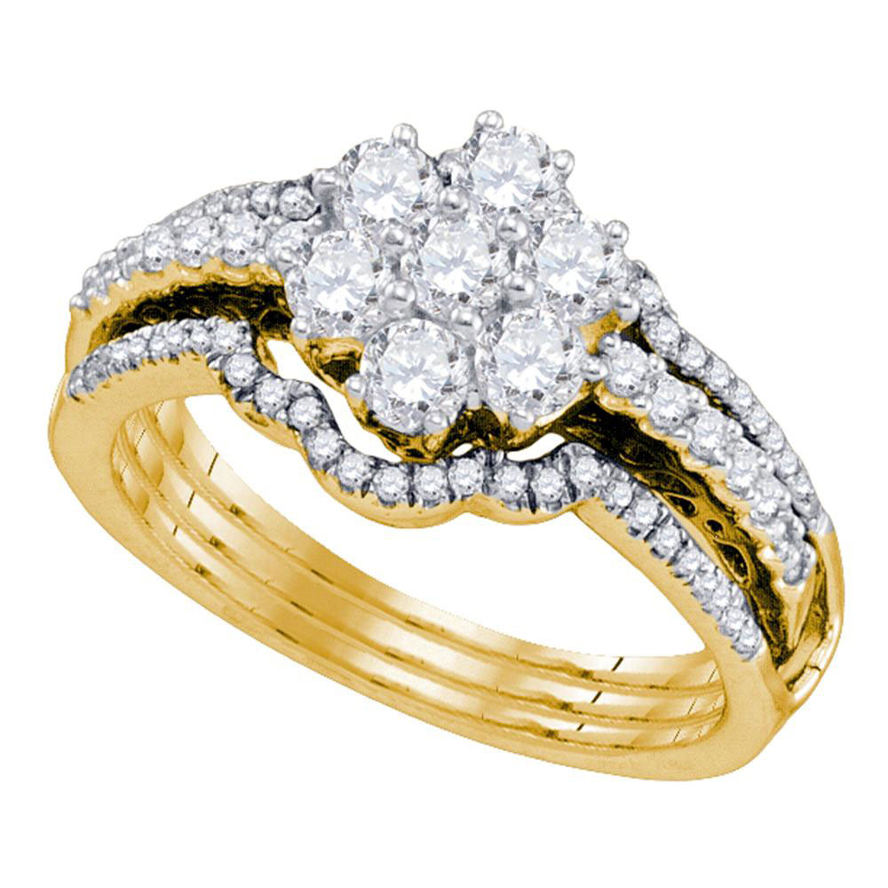 Lot 3177: Diamond Cluster Bridal Wedding Engagement Ring 14kt Yellow Gold