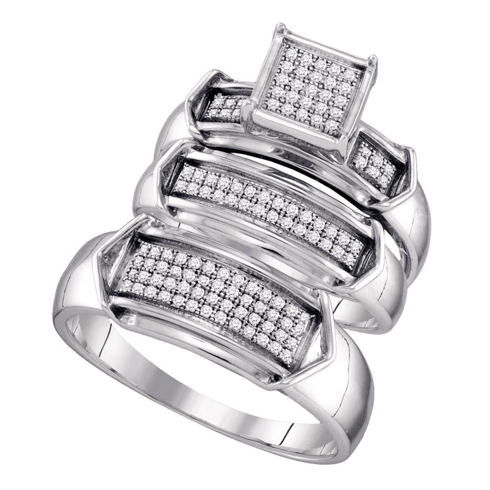 His & Hers Diamond Cluster Matching Bridal Wedding Ring Sterling Silver