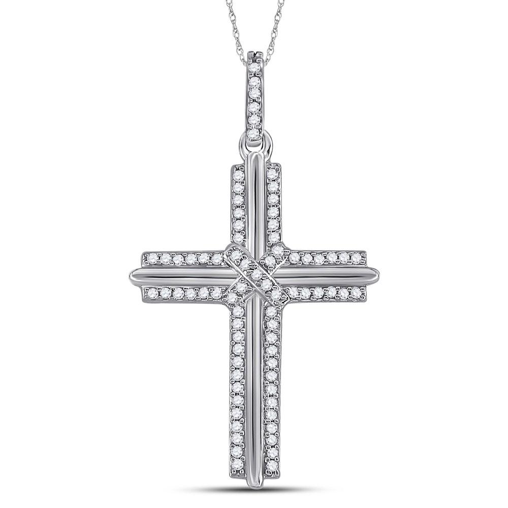 Mens Diamond Cross Charm Pendant 10kt White Gold