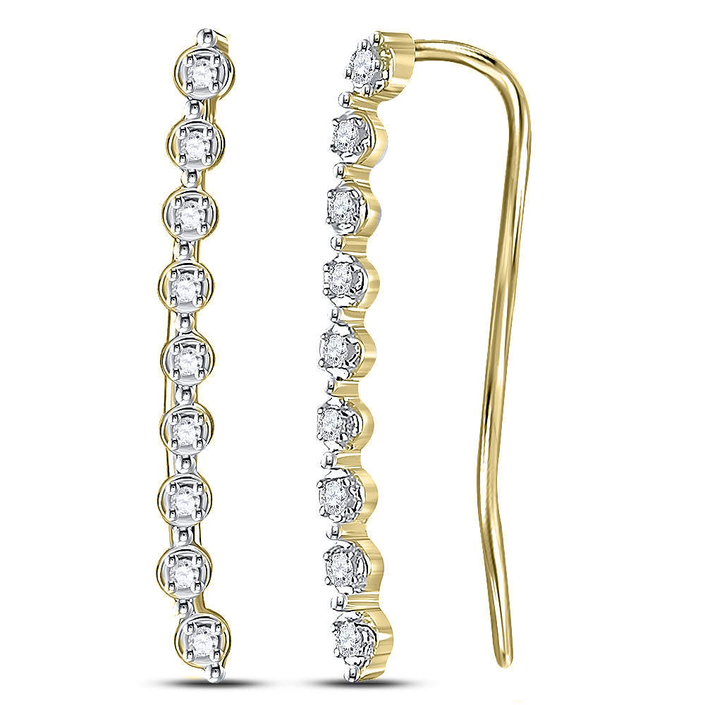 Lot 3181: Diamond Climber Earrings 10kt Yellow Gold
