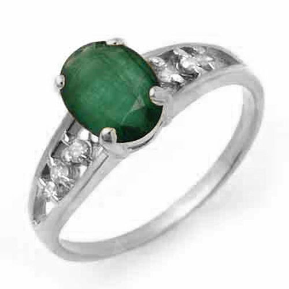 Lot 3183: 1.50 CTW Genuine Emerald & Diamond Ring 18K White Gold