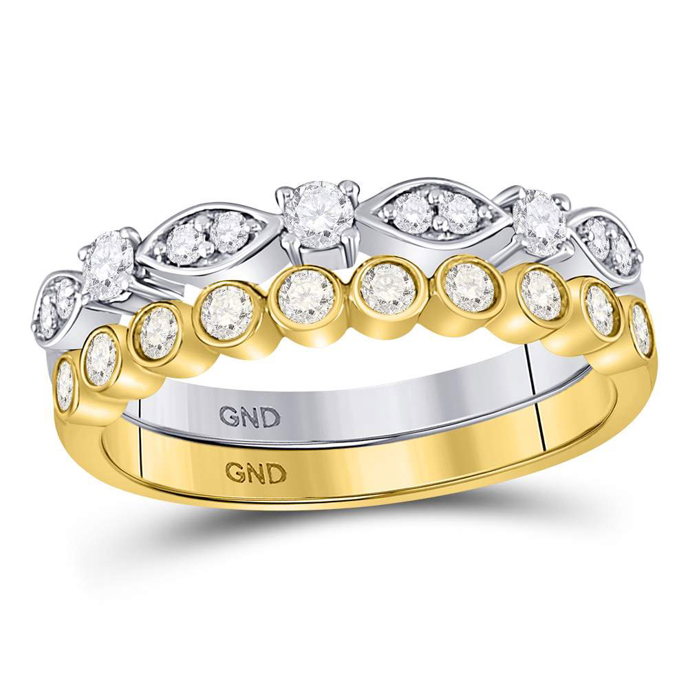 Diamond 2-piece Stackable Band 10kt Two-tone Gold