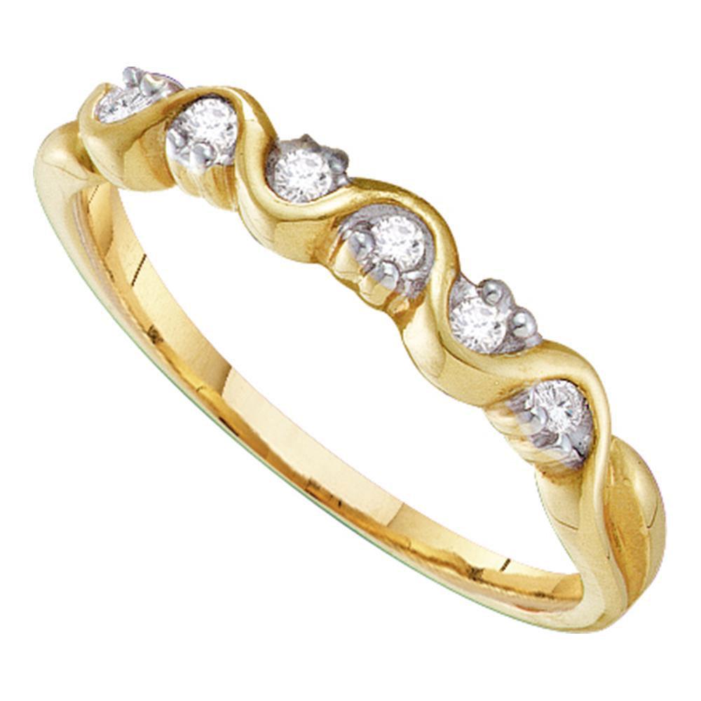 Diamond Wave Band 10kt Yellow Gold