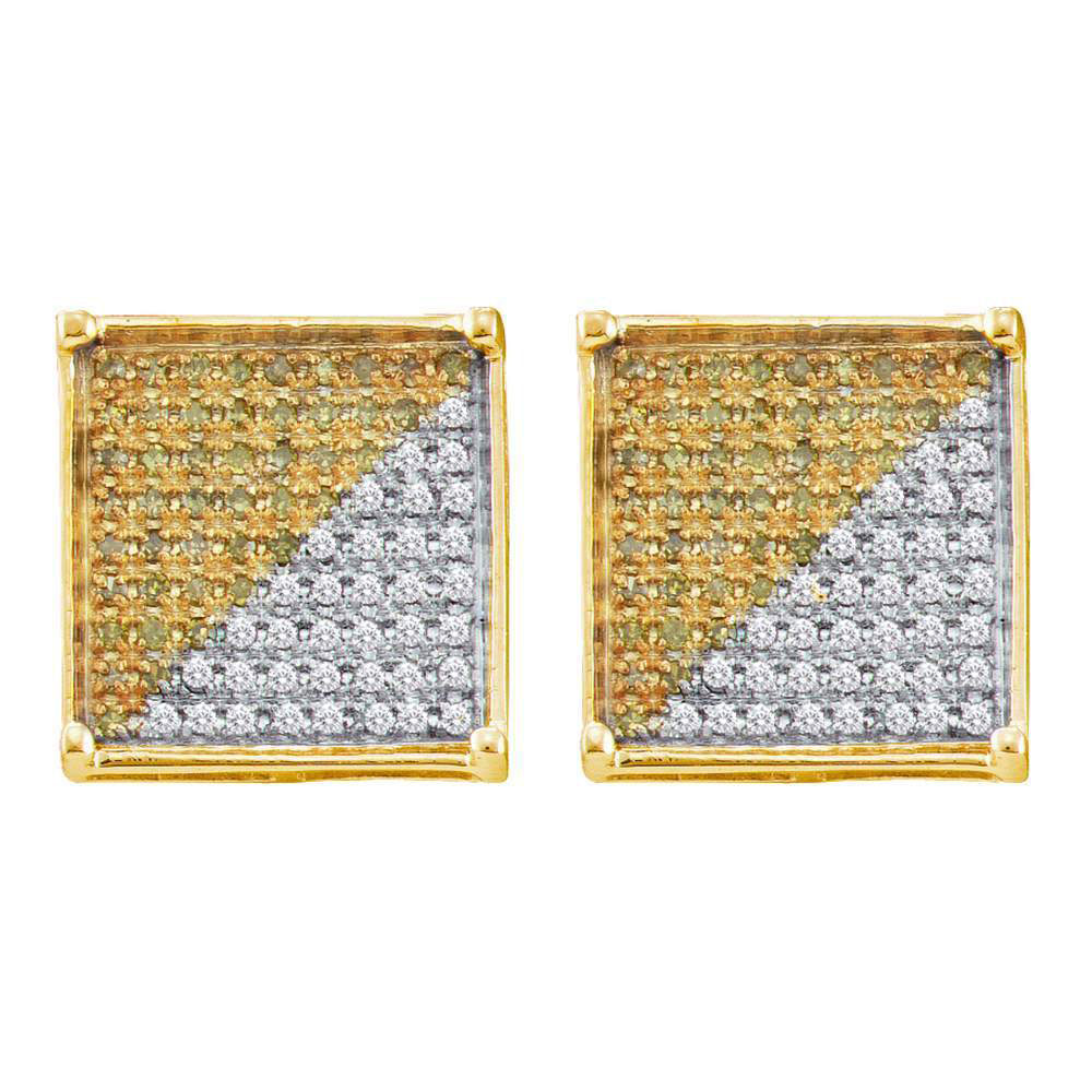 Mens Yellow Color Enhanced Diamond Square Cluster Earrings 10kt Yellow Gold