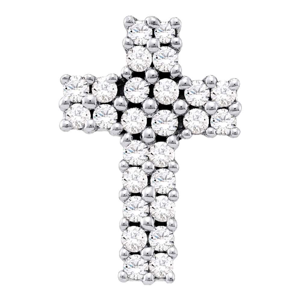 Diamond Cross Pendant 14kt White Gold