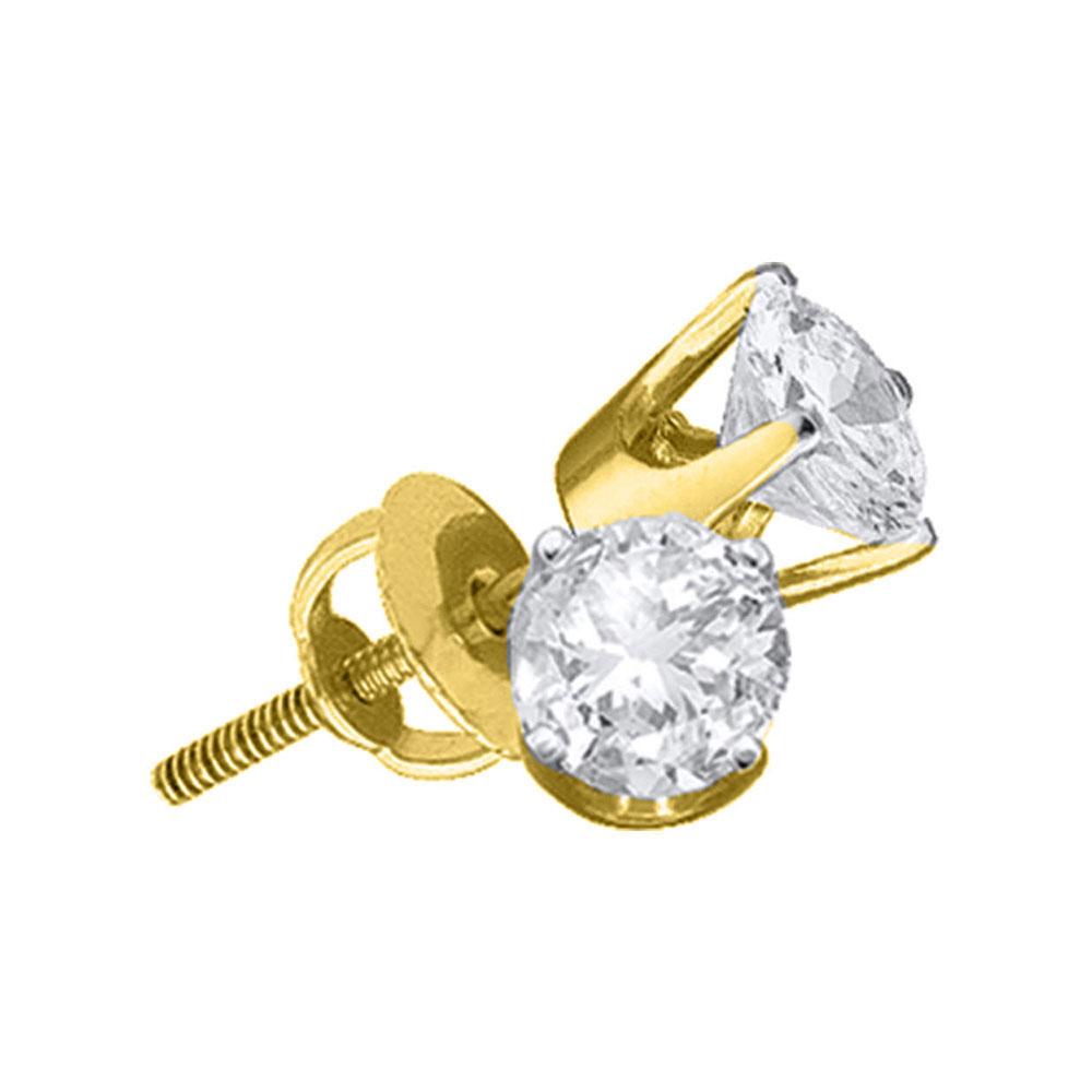 Unisex Diamond Solitaire Stud Earrings 14kt Yellow Gold