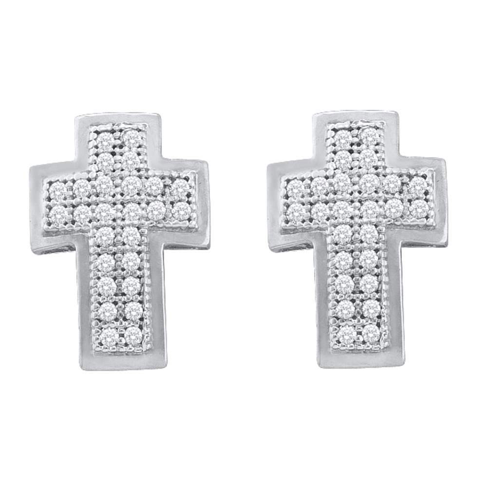 Lot 3197: Diamond Cross Religious Stud Earrings 10kt White Gold