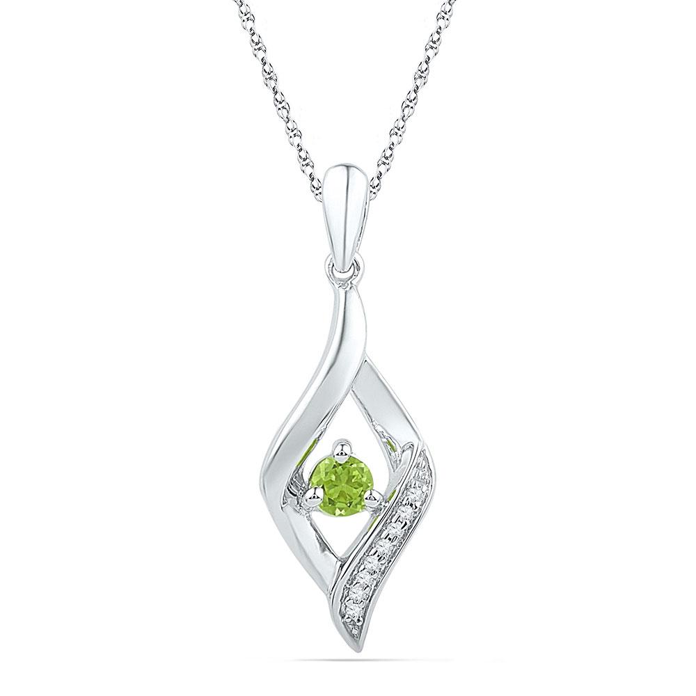 Lab-Created Peridot & Diamond Pendant 10k White Gold