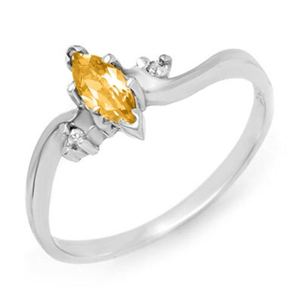 0.29 CTW Genuine Citrine & Diamond Ring 10K White Gold