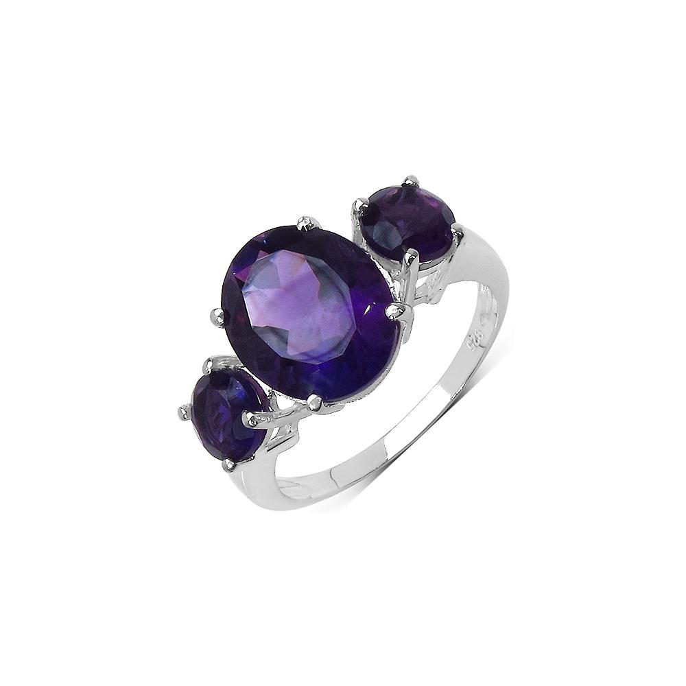 4.20 CTW Genuine Amethyst .925 Streling Silver Ring