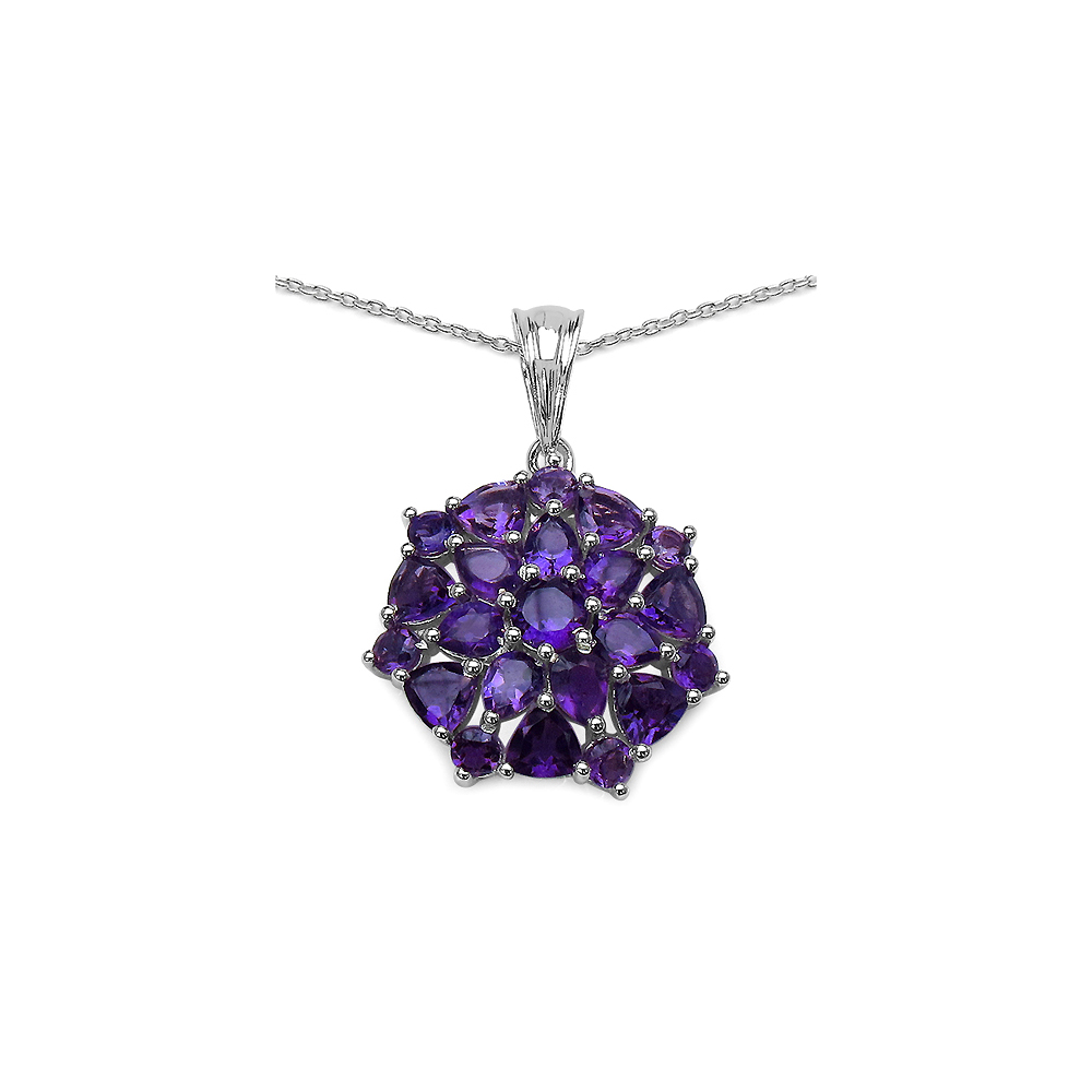 Lot 3023: 3.82 CTW Genuine Amethyst .925 Sterling Silver Pendant