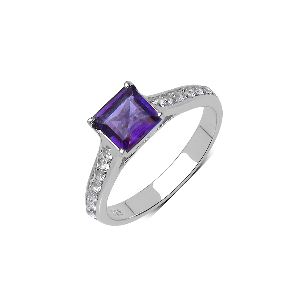 Lot 3018: 1.24 CTW Genuine Amethyst .925 Sterling Silver Ring