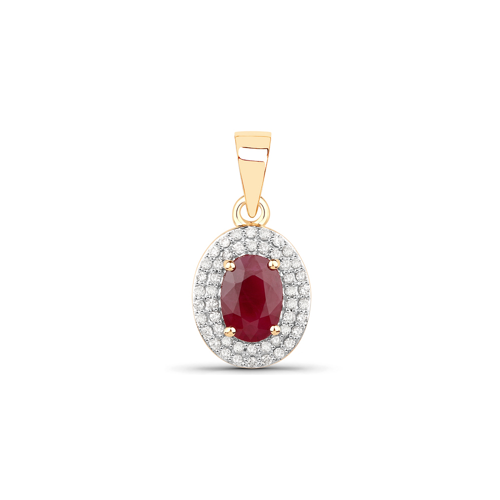 Lot 3050: 1.17 CTW Genuine Ruby & White Diamond 14K Yellow Gold Pendant