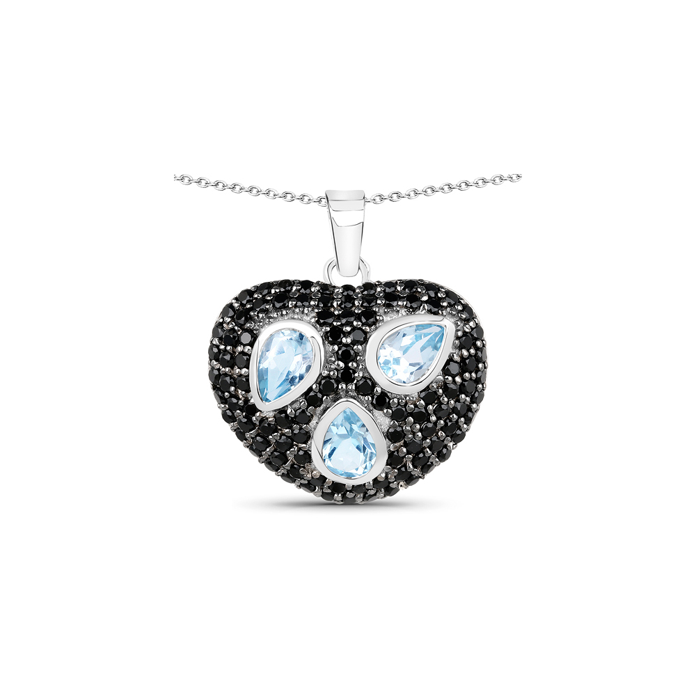 Lot 3045: 3.39 CTW Genuine Blue Topaz & Black Spinel .925 Sterling Silver Pendant