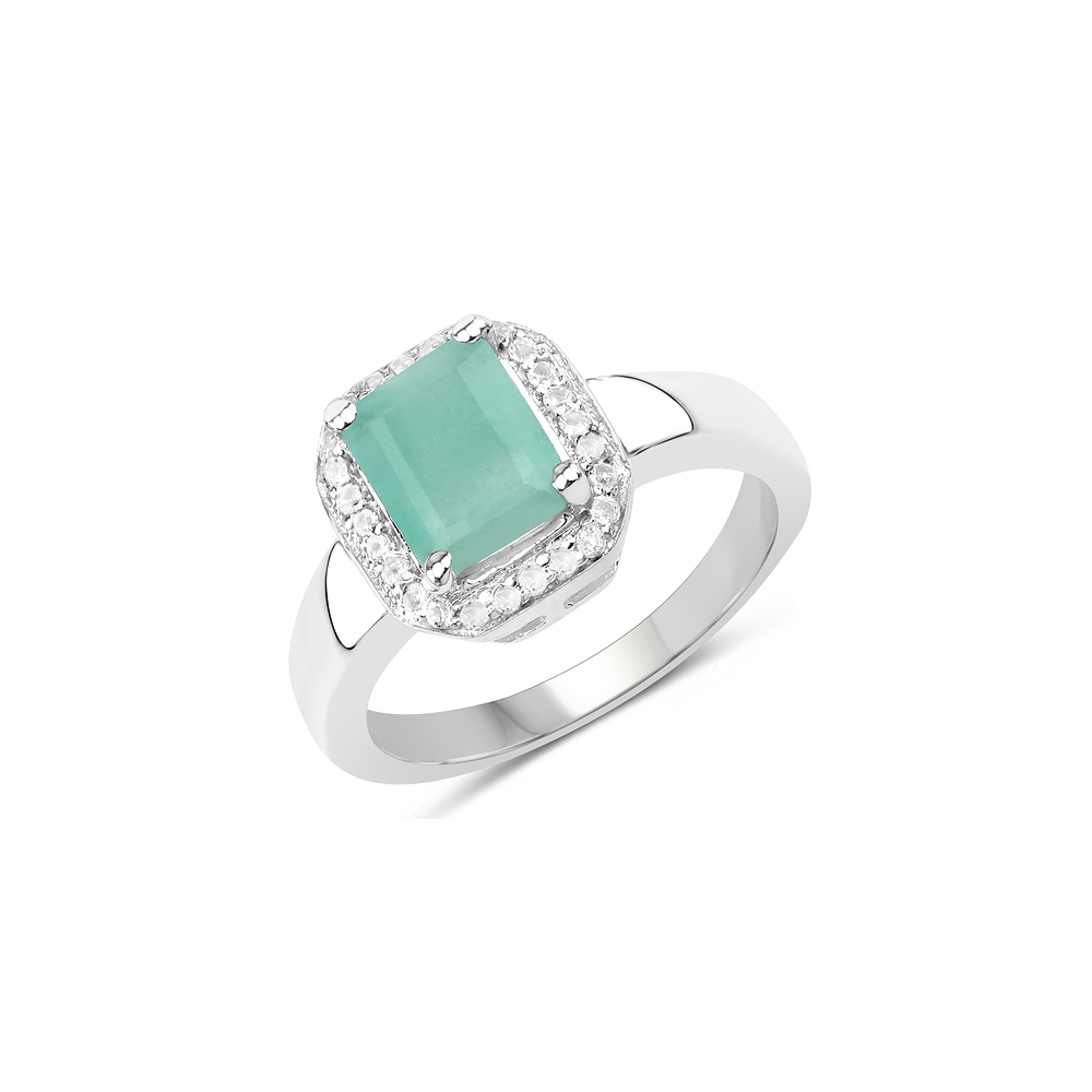 Lot 3054: 1.73 CTW Genuine Emerald & White Topaz .925 Sterling Silver Ring