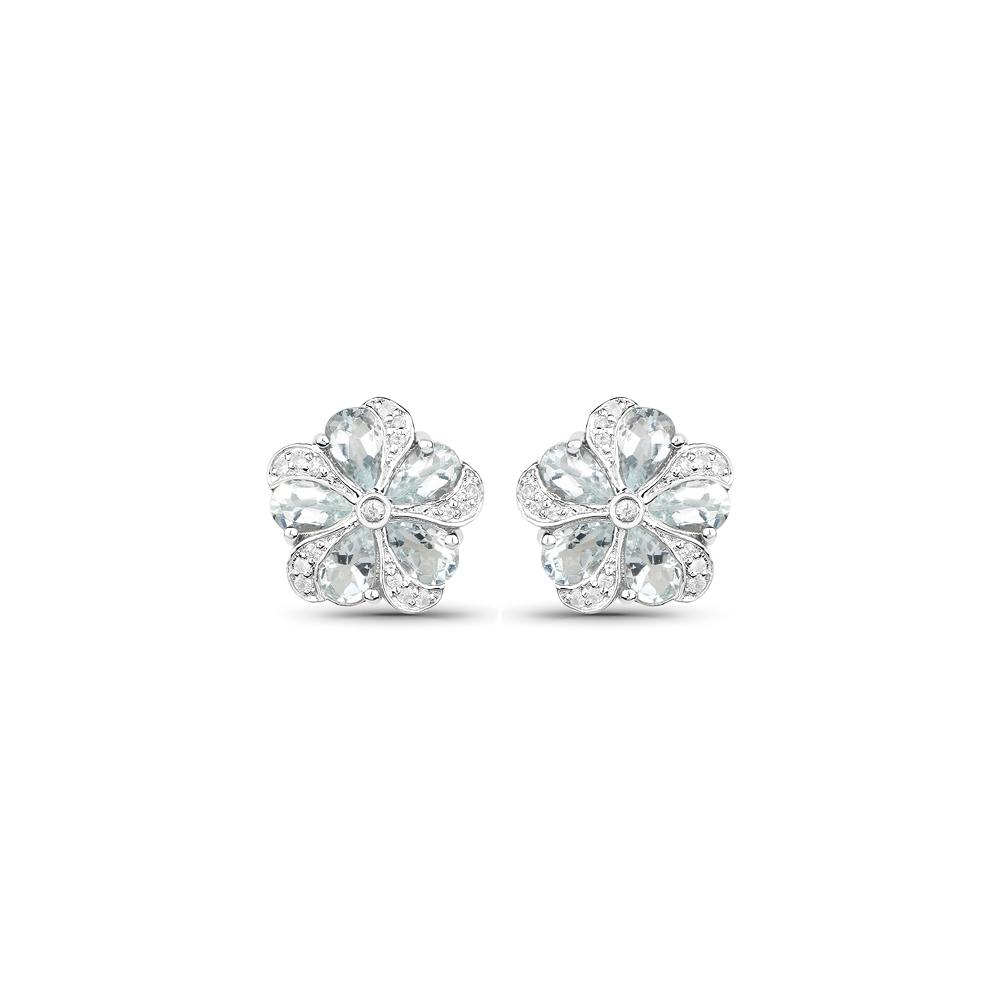 3.81 CTW Genuine Aquamarine & White Zircon .925 Sterling Silver Earrings