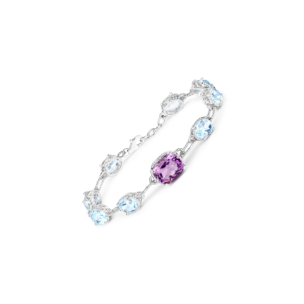 20.20 CTW Genuine Amethyst & Blue Topaz .925 Sterling Silver Bracelet