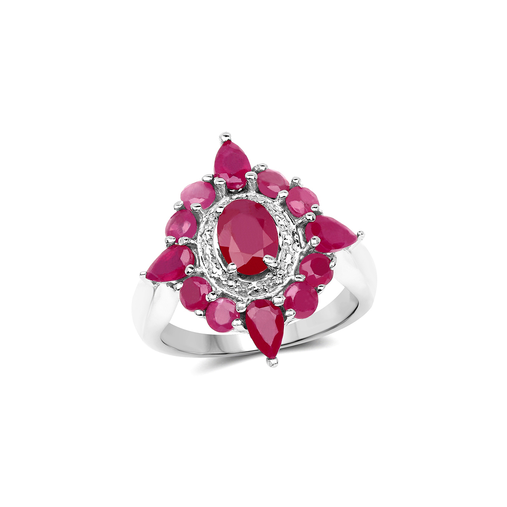 3.04 CTW Glass Filled Ruby .925 Sterling Silver Ring