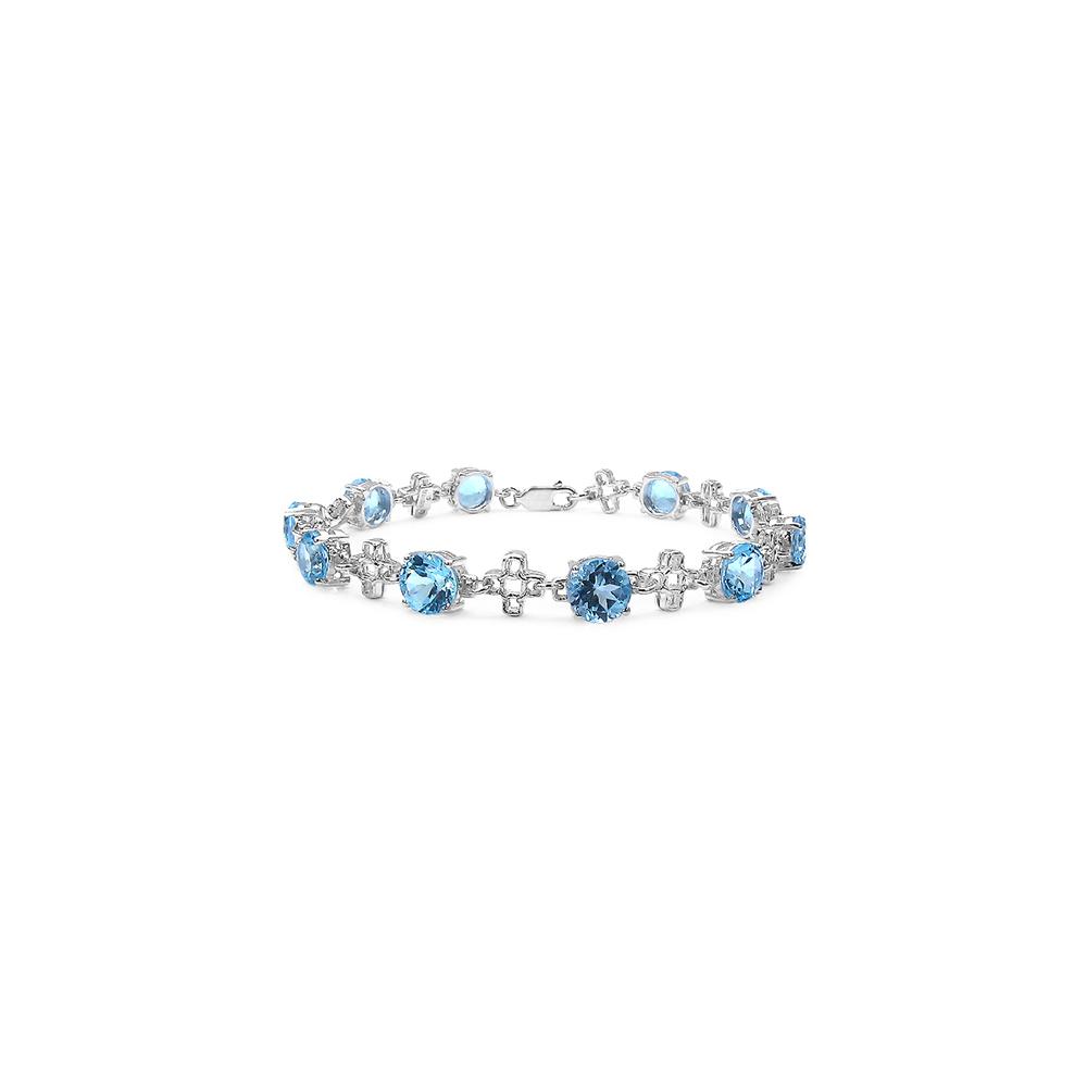 Lot 3117: 16.00 CTW Genuine Blue Topaz .925 Streling Silver Bracelet