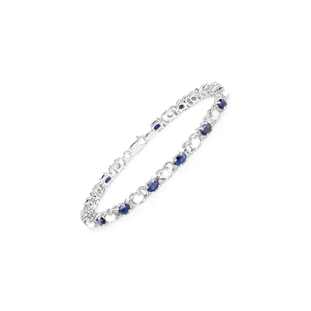 6.10 CTW Blue sapphire & opal Bracelet in Sterling Silver