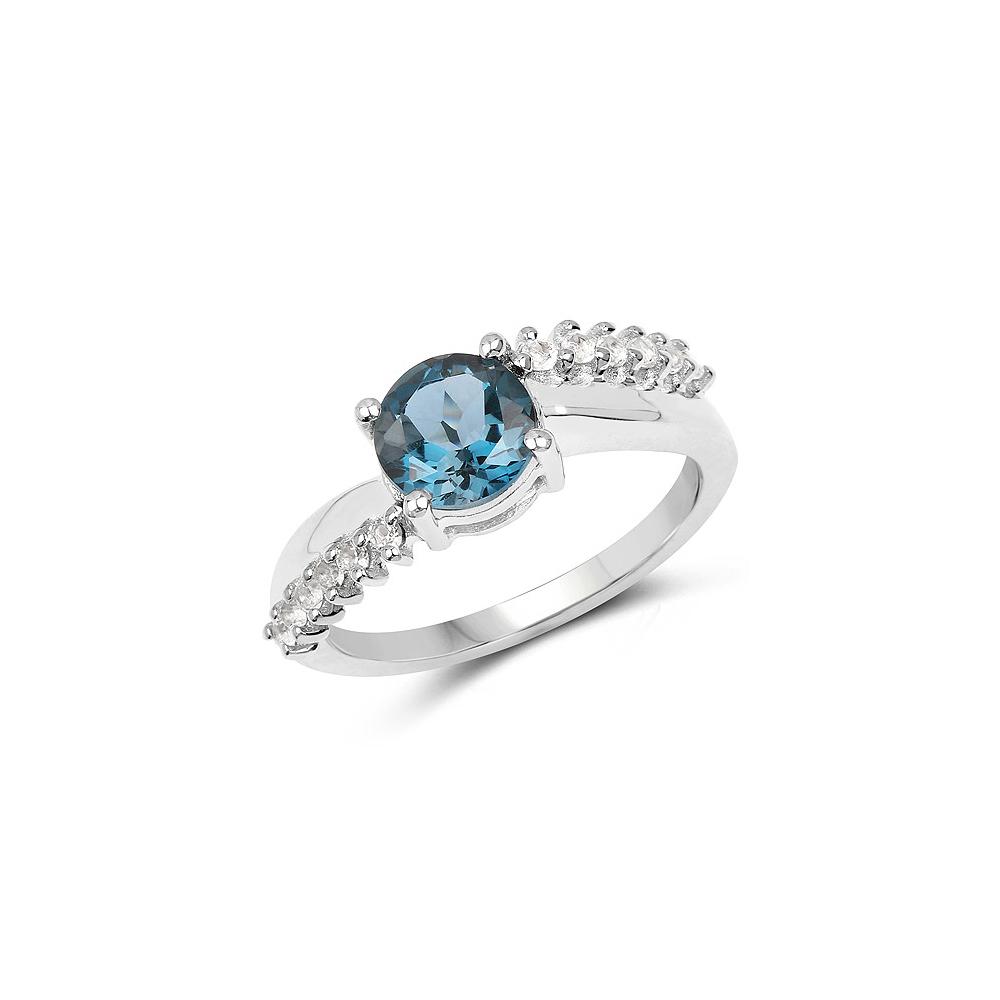 1.63 CTW Genuine London Blue Topaz & White Topaz .925 Sterling Silver Ring